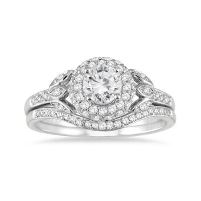 1 Carat Antique Diamond Bridal Set in 14K White Gold