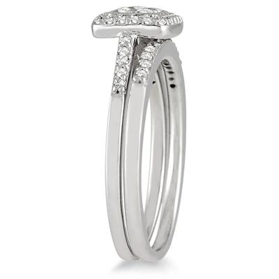 1/3 Carat Diamond Bridal Ring Set in 10k White Gold