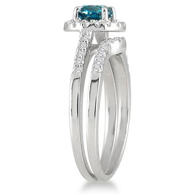 1 1/6 CTW Natural Blue and White Diamond Bridal Set in 10K White Gold