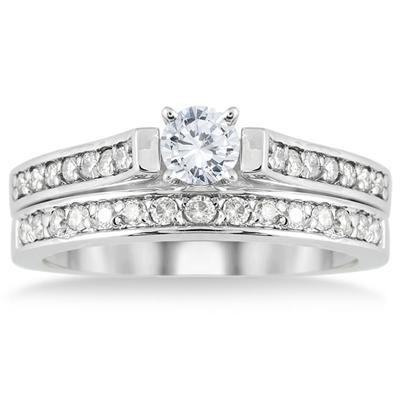 3/4 Carat T.W Diamond Bridal Set in 10K White Gold