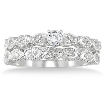 1/3 Carat TW Diamond Bridal Set in 10K White Gold