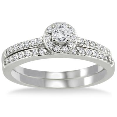 1/2 Carat Diamond Halo Bridal Set in 10K White Gold
