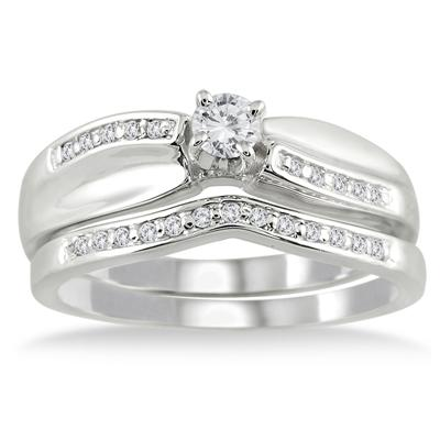 1/3 Carat Diamond Bridal Set in 10K White Gold