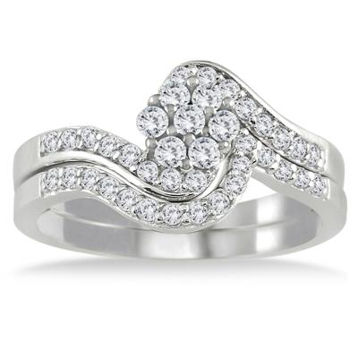 1/2 Carat TW White Diamond Bridal Set in 10K White Gold