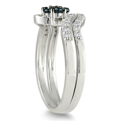1/2 Carat TW Blue and White Diamond Bridal Set in 10K White Gold