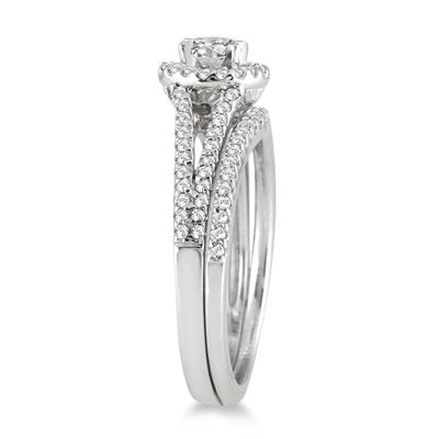 3/4 Carat TW Halo Diamond Bridal Set in 10K White Gold