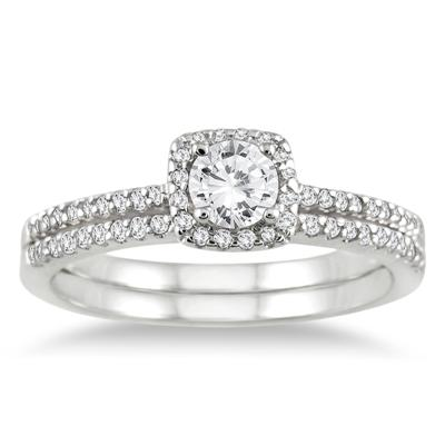 3/5 Carat Diamond Halo Bridal Set in 10K White Gold