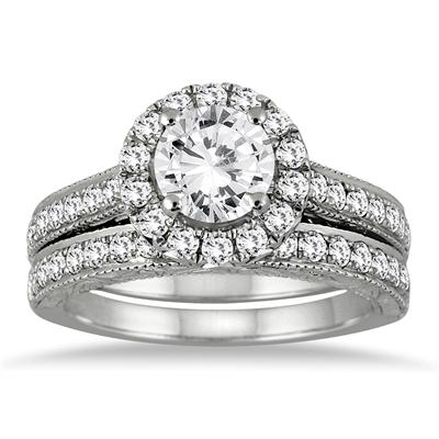 2.00 Carat Diamond Halo Bridal Set in 14K White Gold