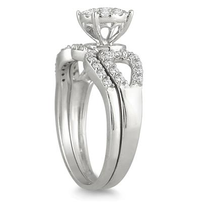 3/4 Carat Diamond Cluster Bridal Set in 10K White Gold