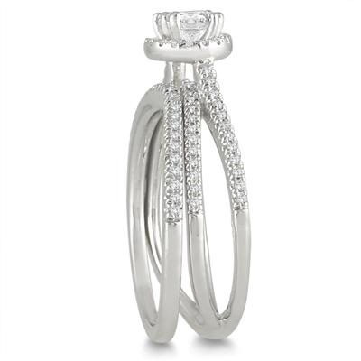 4/5 Carat Halo Diamond Bridal Set in 10K White Gold