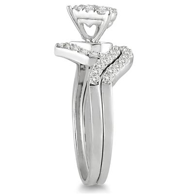 3/4 Carat Diamond Heart Bridal Set in 10K White Gold