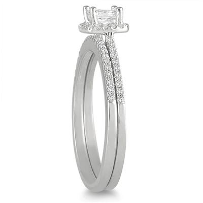 3/5 Carat TW Princess Diamond Bridal Set in 10K White Gold