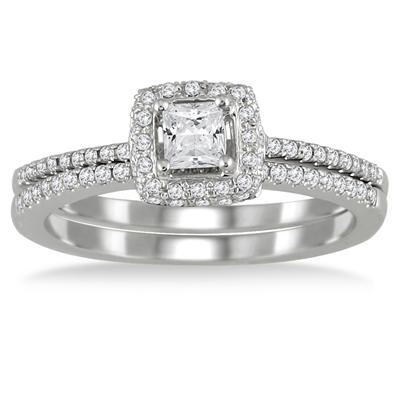 3/5 Carat Halo Princess Cut Diamond Bridal Set in 10K White Gold