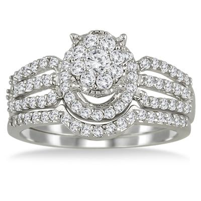 7/8 Carat Cluster Diamond Bridal Set in 10K White Gold
