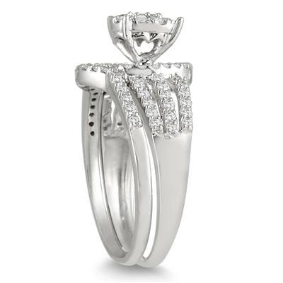 7/8 Carat Cluster Diamond Bridal Set in 10K White Gold