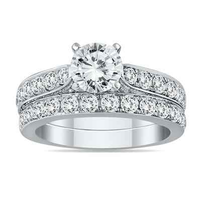 2 1/2 Carat White Diamond Bridal Set in 14K White Gold