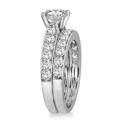 2 1/2 Carat TW White Diamond Bridal Set in 14K White Gold (J-K Color, I2-I3 Clarity)