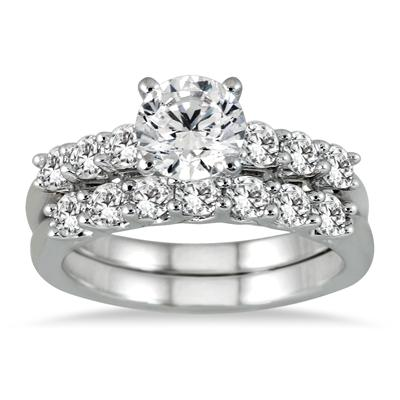 IGI Certified 1 7/8 Carat Diamond Bridal Set in 14K White Gold (J-K Color, I2-I3 Clarity)