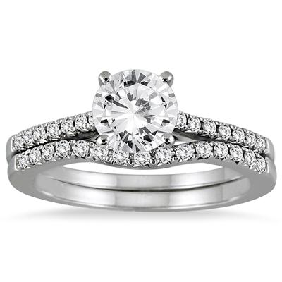 1 Carat Diamond Bridal Set in 14K White Gold