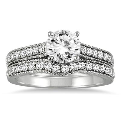 1 1/4 Carat Diamond Antique Bridal Set in 14K White Gold