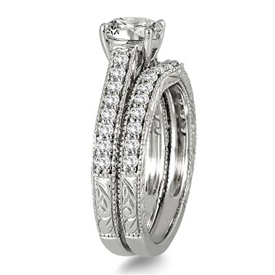 1 1/4 Carat TW Diamond Antique Bridal Set in 14K White Gold