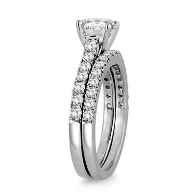 1 3/8 Carat Diamond Bridal Set in 14K White Gold