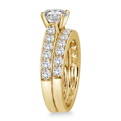 2 1/2 Carat White Diamond Bridal Set in 14K Yellow Gold