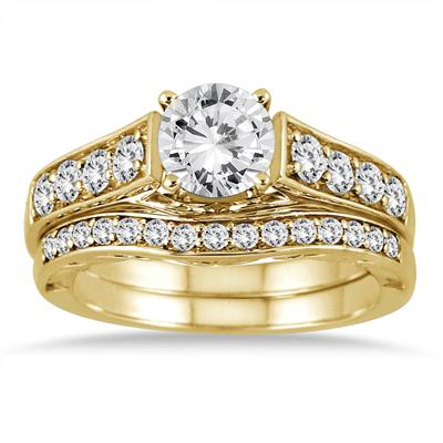 1 3/4 Carat Diamond Antique Bridal Set in 14K Yellow Gold