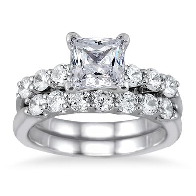 2.00 Carat Princess Diamond Bridal Set in 14K White Gold