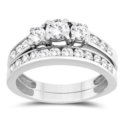 1 1/2 Carat TW Three Stone Diamond Bridal Set in 10K White Gold