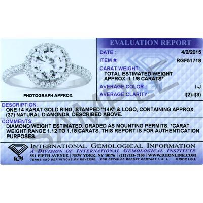 IGI Certified 1 1/2 Carat Diamond Halo Bridal Set in 14K White Gold (J-K Color, I2-I3 Clarity)