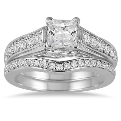1 1/2 Carat Princess Diamond Bridal Set in 14K White Gold