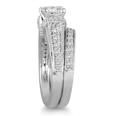 1 5/8 Carat Princess Cut Diamond Bridal Set in 14K White Gold