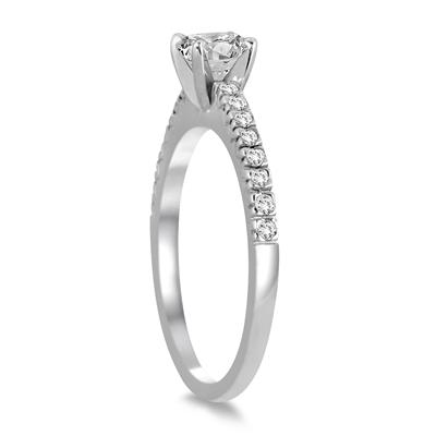 1 Carat TW Diamond Fish Tail Pave Bridal Set in 14K White Gold