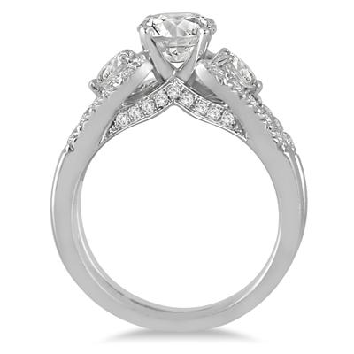 IGI Certified 2 1/6 Carat  Diamond Bridal Set in 14K White Gold (J-K Color, I2-I3 Clarity)