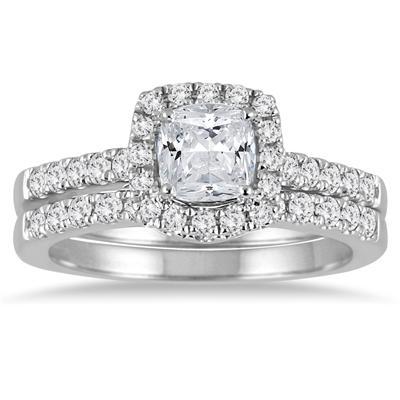1 1/2 Carat Cushion Cut Diamond Halo Bridal Set in 14K White Gold