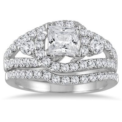 2.00 Carat Princess Cut Antique Diamond Bridal Set in 14K White Gold