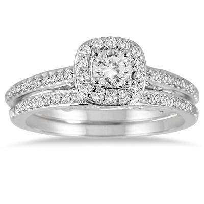 5/8 Carat TW Diamond Halo Bridal Set in 14K White Gold