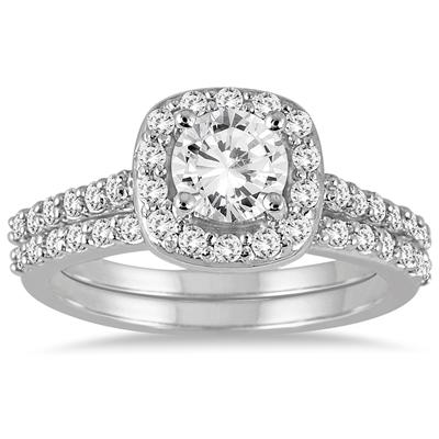 1 1/3 Carat Diamond Halo Bridal Set in 14K White Gold