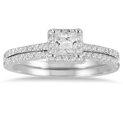 5/8 Carat Princess Cut Diamond Bridal Set in 14K White Gold
