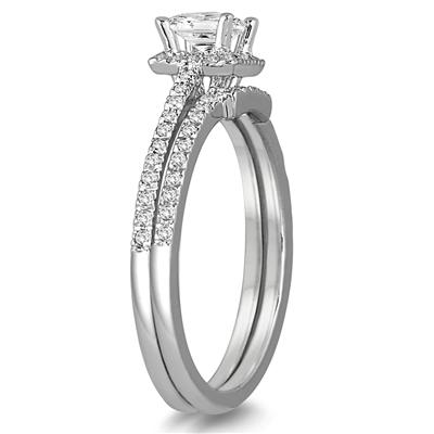 5/8 Carat Princess Cut Diamond Bridal Set in 14K White Gold