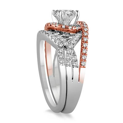 1 1/2 Carat Diamond Bridal Set in Two Tone 14K White Gold