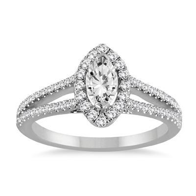 7/8 Carat Marquise Cut Diamond Bridal Set in 14K White Gold