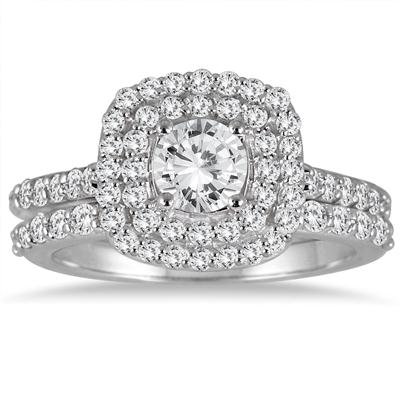 1 3/5 Carat Diamond Halo Bridal Set in 14K White Gold