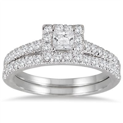 1.00 Carat Princess Cut Diamond Bridal Set in 14K White Gold