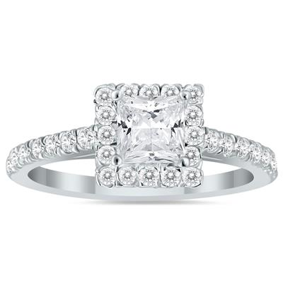1 1/4 Carat Princess Cut Diamond Bridal Set in 14K White Gold