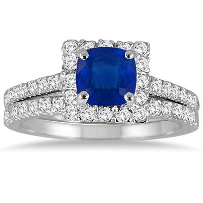 Cushion Cut Sapphire and Diamond Bridal Set in 14K White Gold
