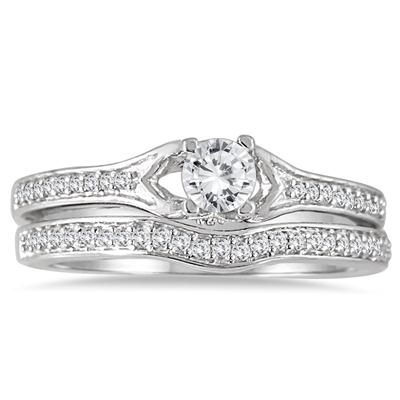 1/2 Carat Diamond Bridal Set in 14K White Gold