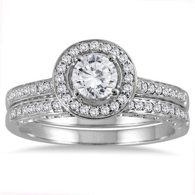 7/8 Carat Diamond Antique Engraved Halo Bridal Set in 14K White Gold
