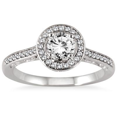 7/8 Carat Diamond Antique Engraved Halo Bridal Set in 14K White Gold